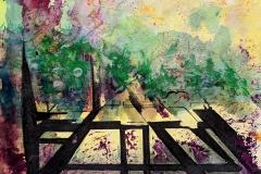 """Carol Pepper-Cooper, Escape, ink and pastel on paper, 7.5""""x 7.5"""" (unframed), 14"""" x 14"""", (framed) $160"""