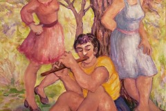 """Pam Krimsky, Flute Player with Two Young Women, acrylic on canvas, 31.5"""" X 23.7"""", $1990"""